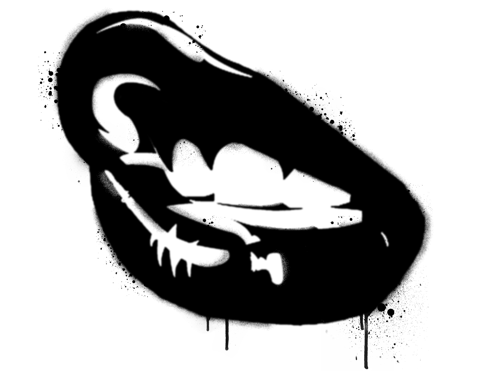 Black And White Lips PNG - 152207