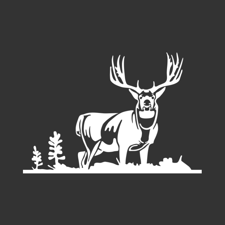 Broadside Mule Deer Decal (SM-31). Color: White - Black And White Mule PNG