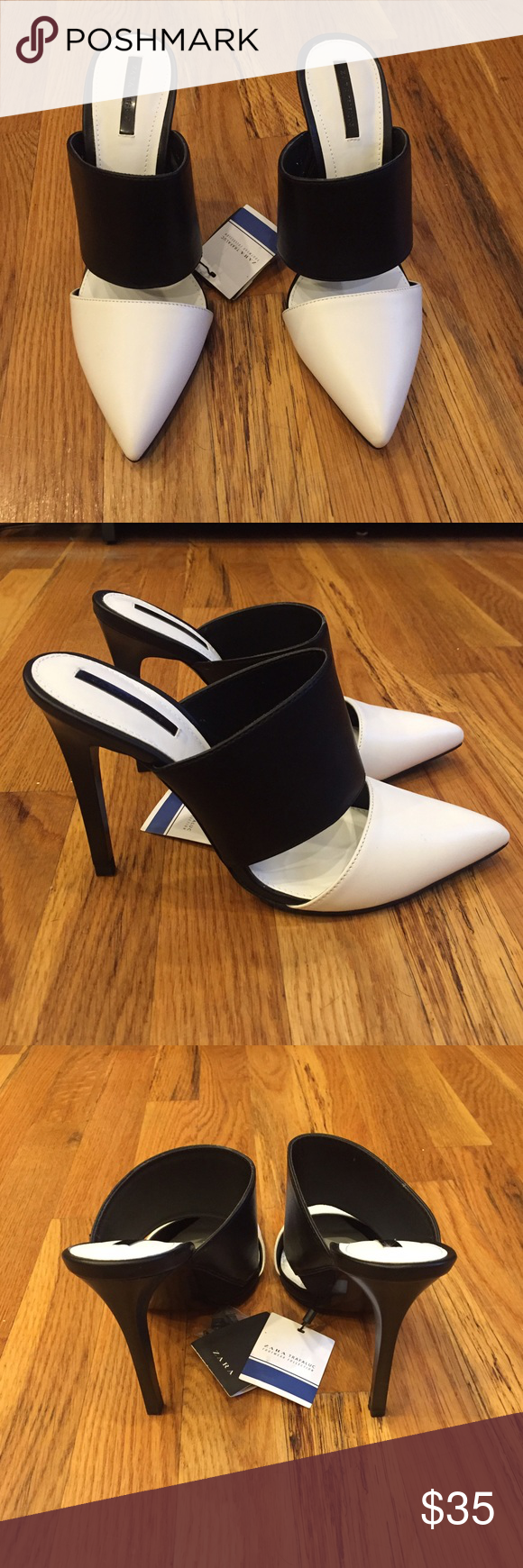 Zara Black and White Stiletto Mules New black and white Mules from Zara  with a stiletto - Black And White Mule PNG
