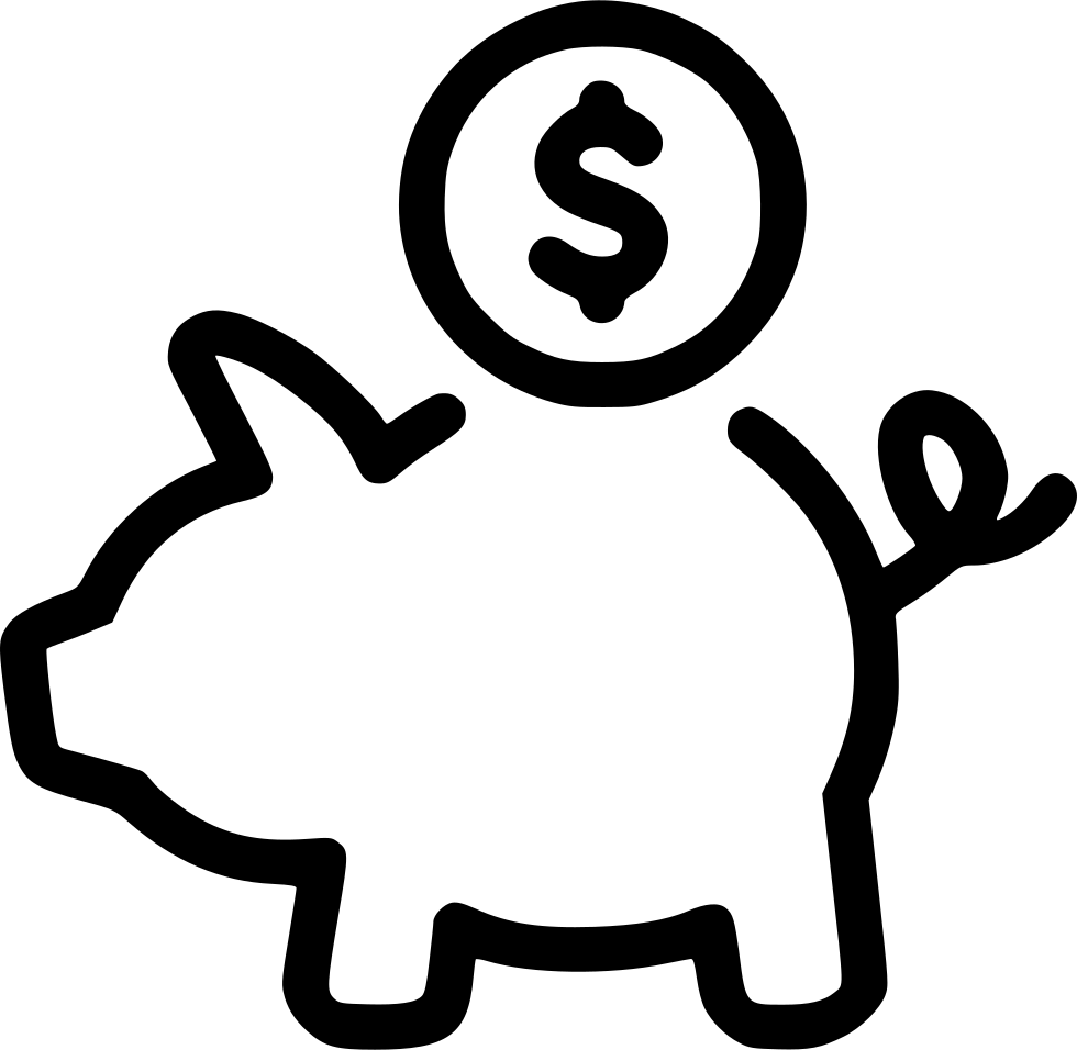 Cash Money Coins Piggy Bank Savings Comments - Black And White Piggy Bank PNG