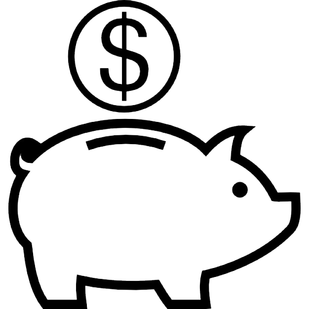 Black And White Piggy Bank PNG