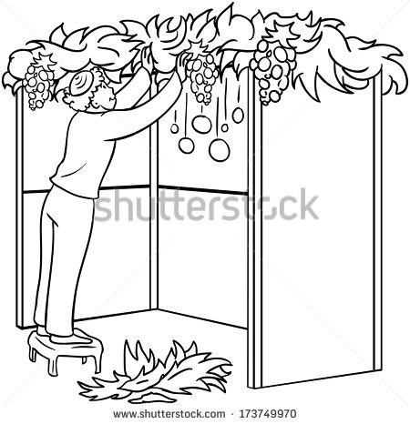 A vector illustration coloring page of a Jewish guy standing on a stool and  building a - Black And White Sukkot PNG