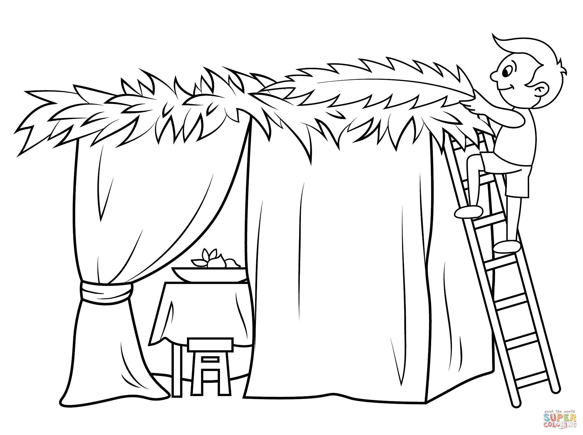 Click the Boy Builds a Sukkah PlusPng.com  - Black And White Sukkot PNG