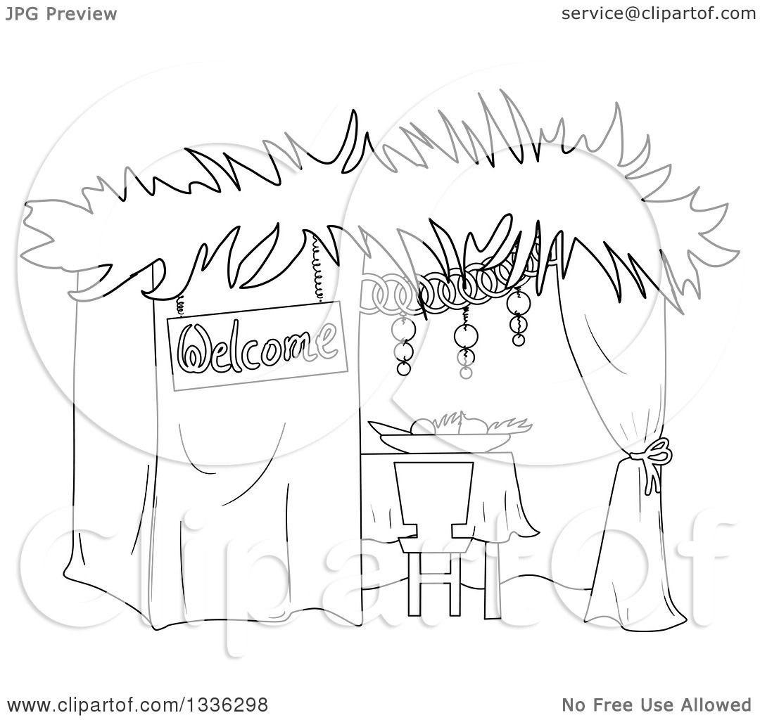 Clipart of a Black and White Jewish Sukkah for Sukkot - Royalty Free Vector  Illustration by Liron Peer - Black And White Sukkot PNG
