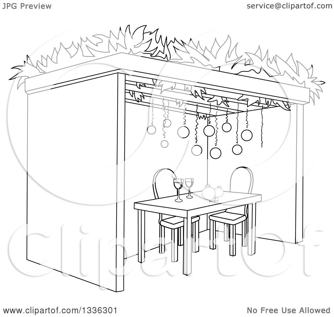 Clipart of a Black and White Jewish Sukkah for Sukkot with Pomegranates and  Wine - Royalty Free Vector Illustration by Liron Peer - Black And White Sukkot PNG
