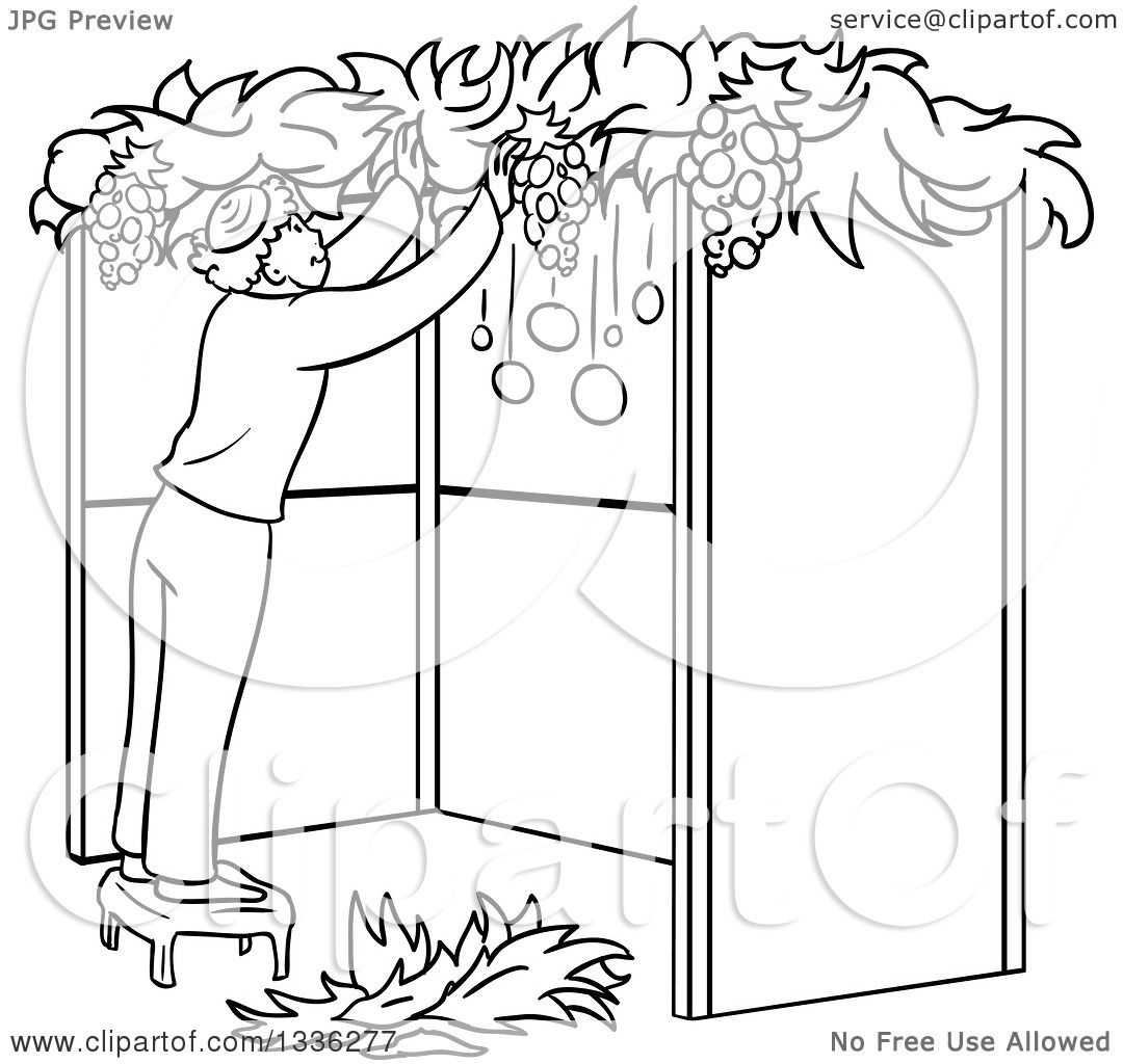 Clipart of a Cartoon Black and White Jewish Man Standing on a Stool and  Building a Sukkah for Sukkot - Royalty Free Vector Illustration by Liron  Peer - Black And White Sukkot PNG