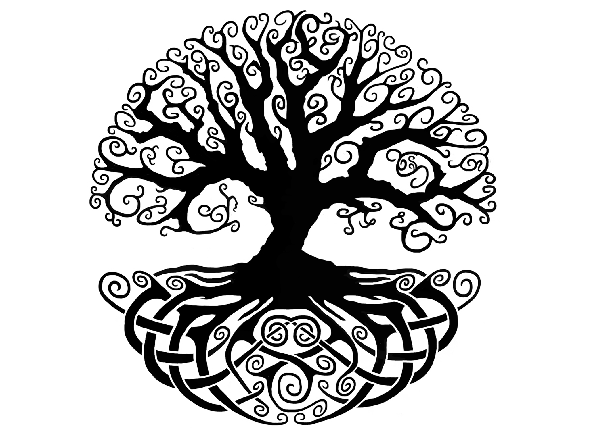 2048x1507 Celtic Knot Tree of Life 4 Black - Black And White Tree Of Life PNG