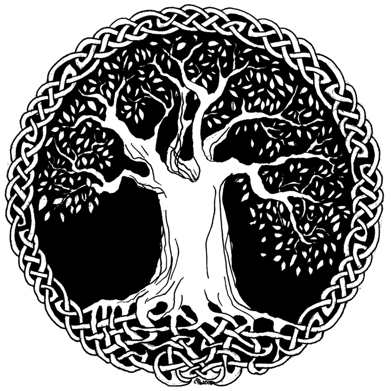 Celtic Wisdom Tree by TheeIceFaerie PlusPng.com  - Black And White Tree Of Life PNG