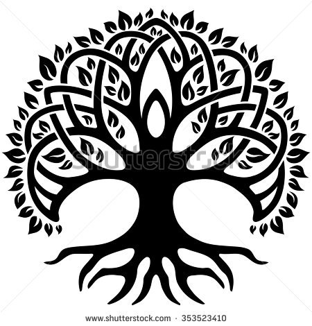 Vector ornament, decorative Celtic tree of life - Black And White Tree Of Life PNG