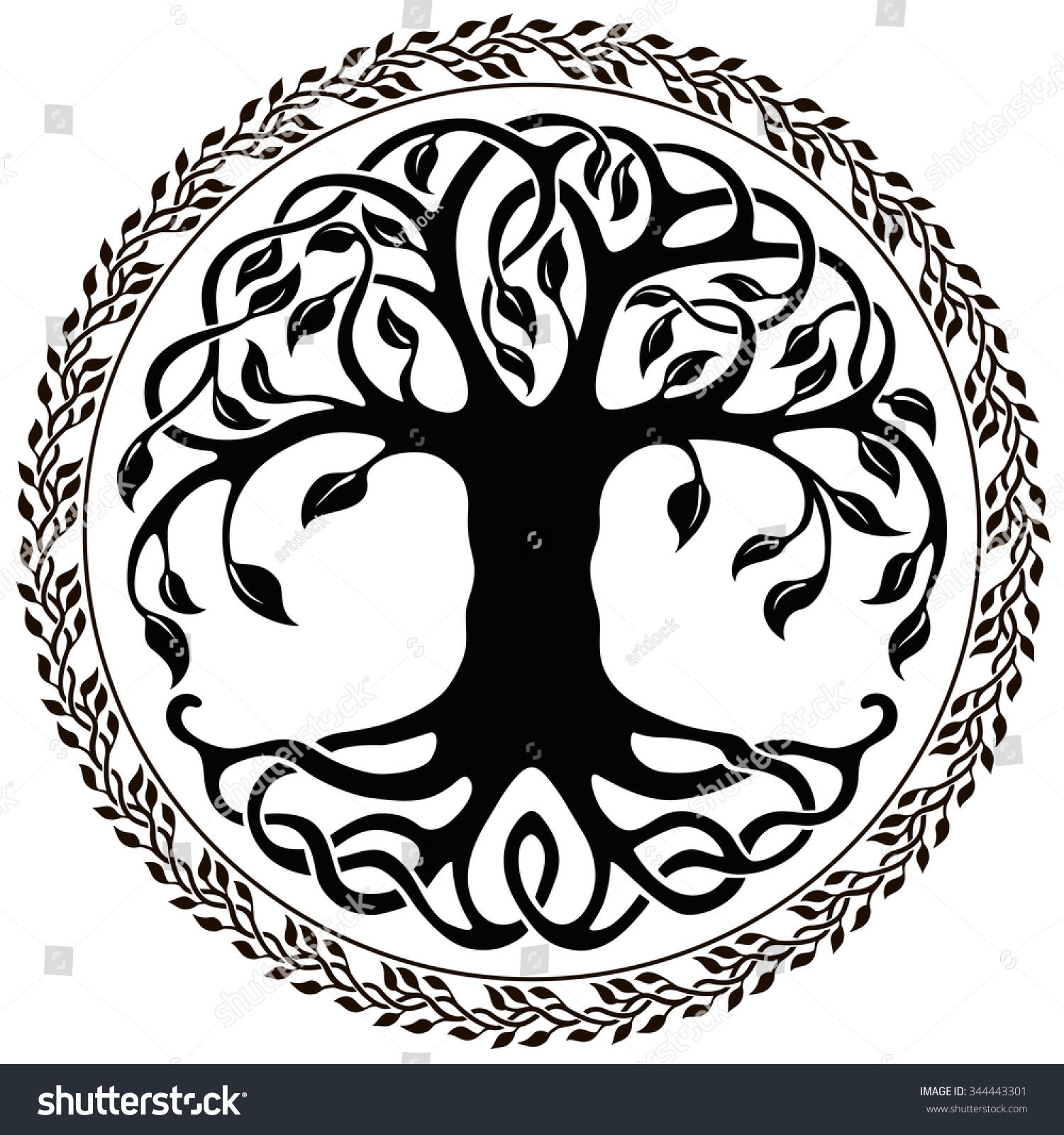 Vector ornament, decorative Celtic tree of life with floral round border - Black And White Tree Of Life PNG