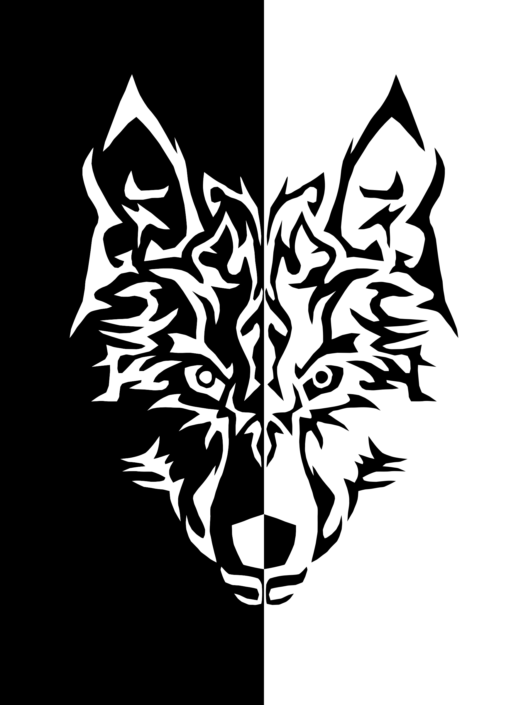 Black And White Wolf PNG - 161847