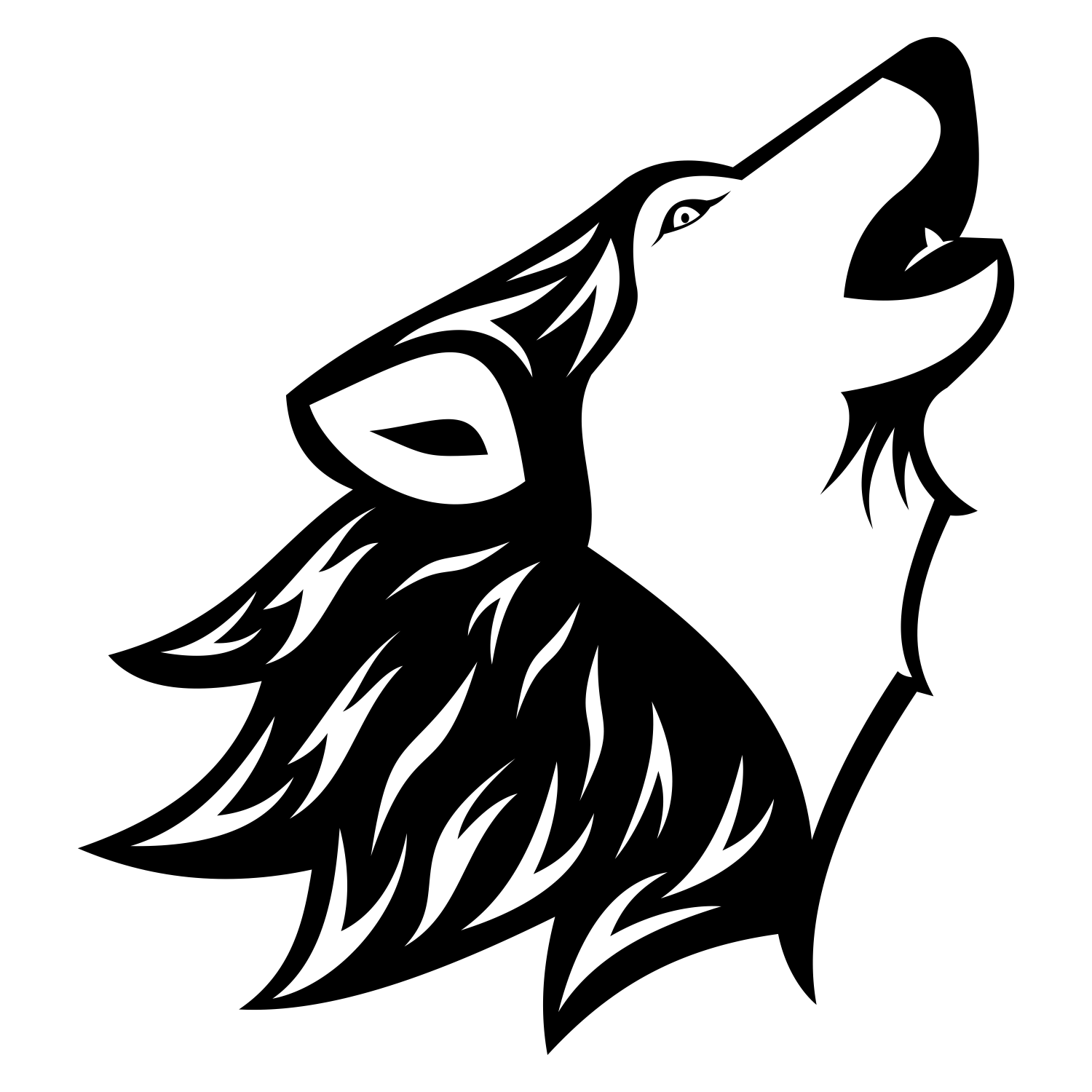 Black And White Wolf PNG - 161846