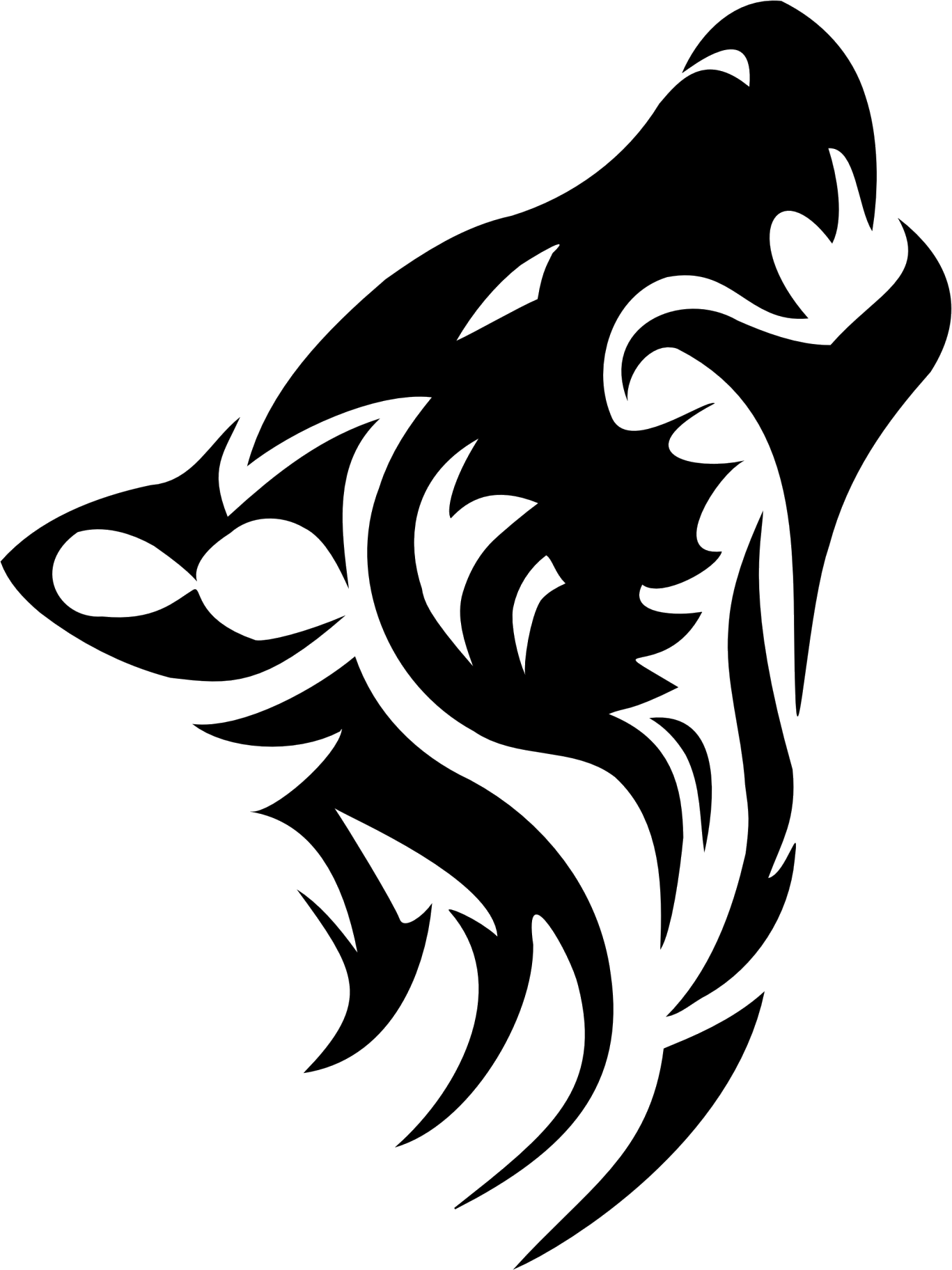 Black And White Wolf PNG - 161848