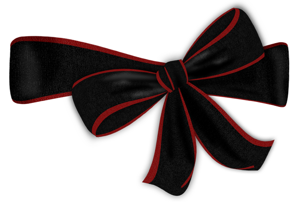 Black Bow With Red Edge Clipart - Black Bows PNG