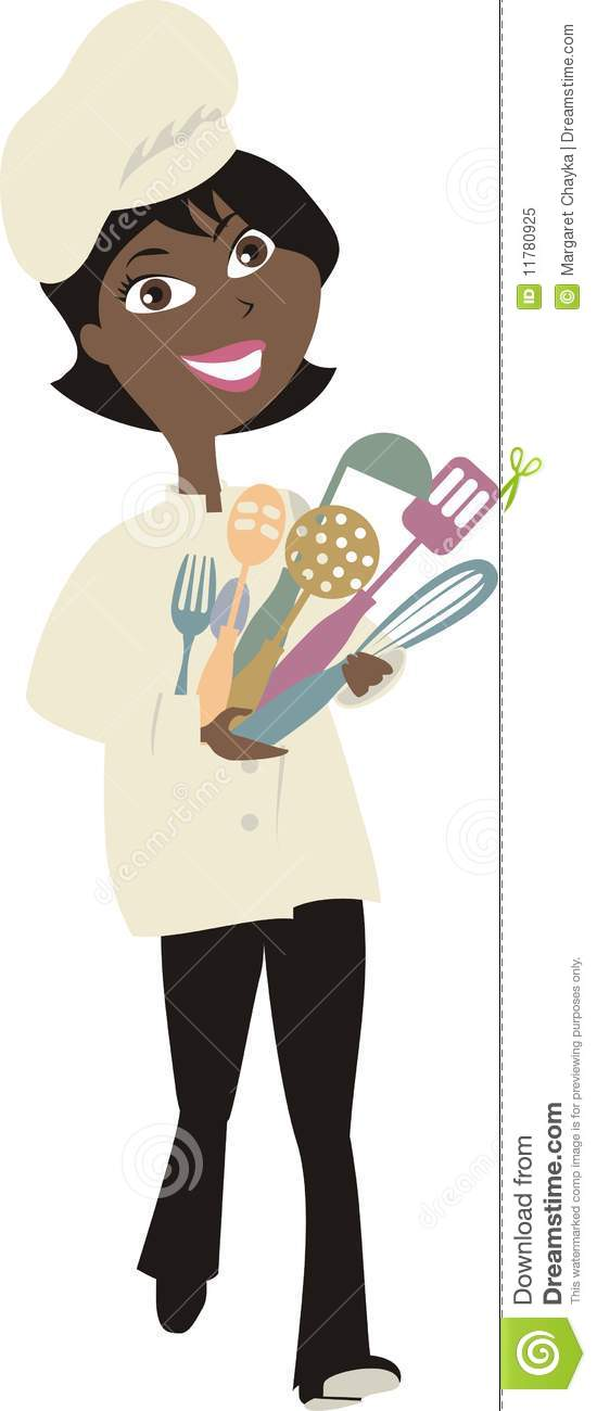 Black Woman Chef Clipart - Black Female Chef PNG