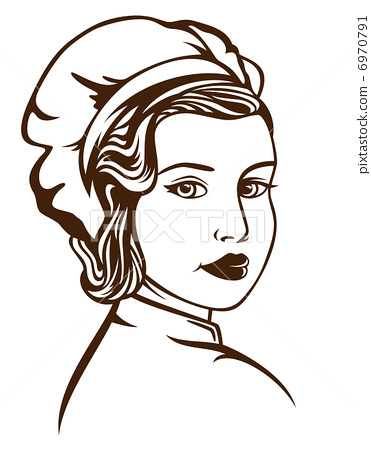 retro style female chef vector illustration - monochrome outline over white - Black Female Chef PNG