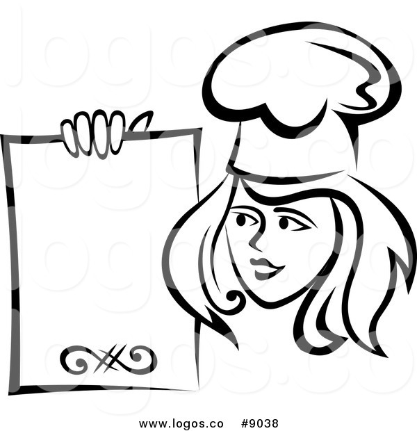 Royalty Free Clip Art Vector Logo of a Black and White Female Chef Holding  a Menu - Black Female Chef PNG