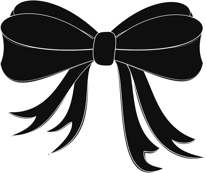 Black Ribbon Bow PNG - 166438