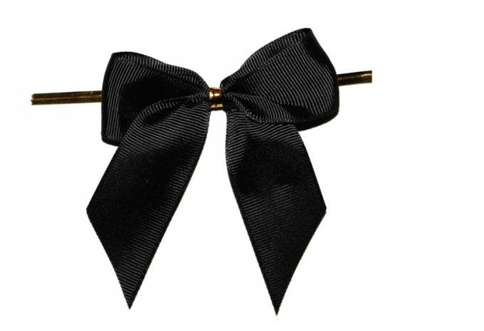 Wire Twist / Impressive Pre Tied Decorative Ribbon Bow Tie - Black Ribbon Bow PNG