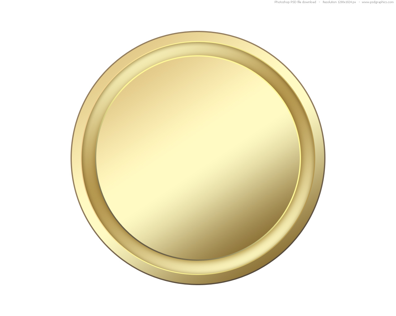 Gold Blank Icon Buttons - Blank Coin PNG