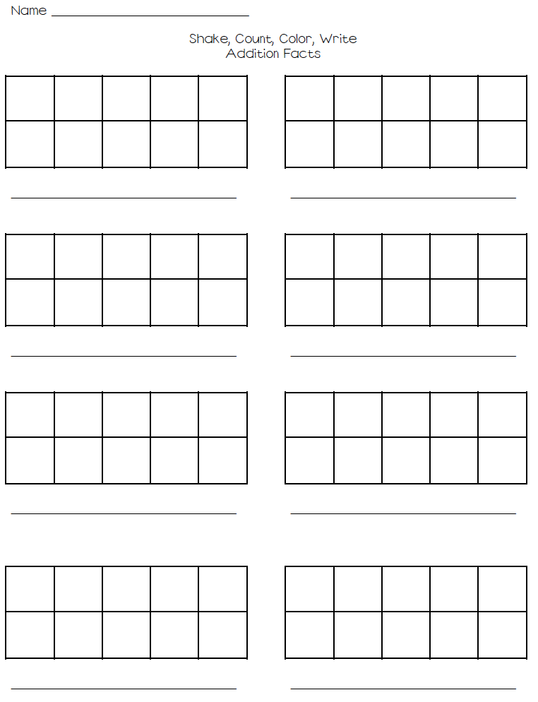 Shake, Count, Color, Write - Addition Facts To 10 On Tens Frame. - Blank Ten Frame PNG