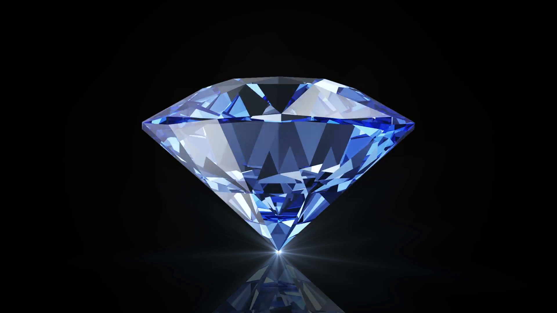 Animation Of Blue Diamond Rotation On Black Background With Glowing Rays Seamless Looping HQ Video