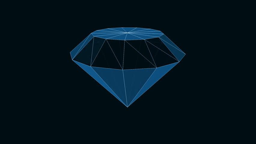 blue diamond rotates in black space - HD stock footage clip - Blue Diamond PNG HD