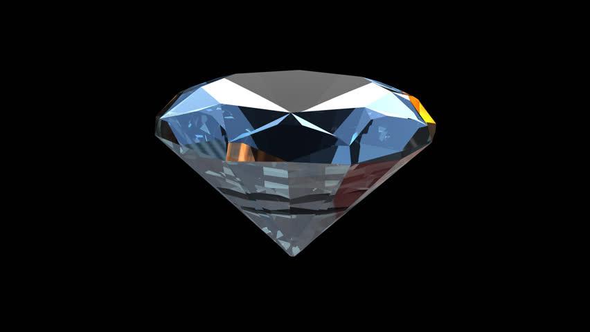 Diamond rotating seamless loop, Alpha PNG - HD stock footage clip - Blue Diamond PNG HD