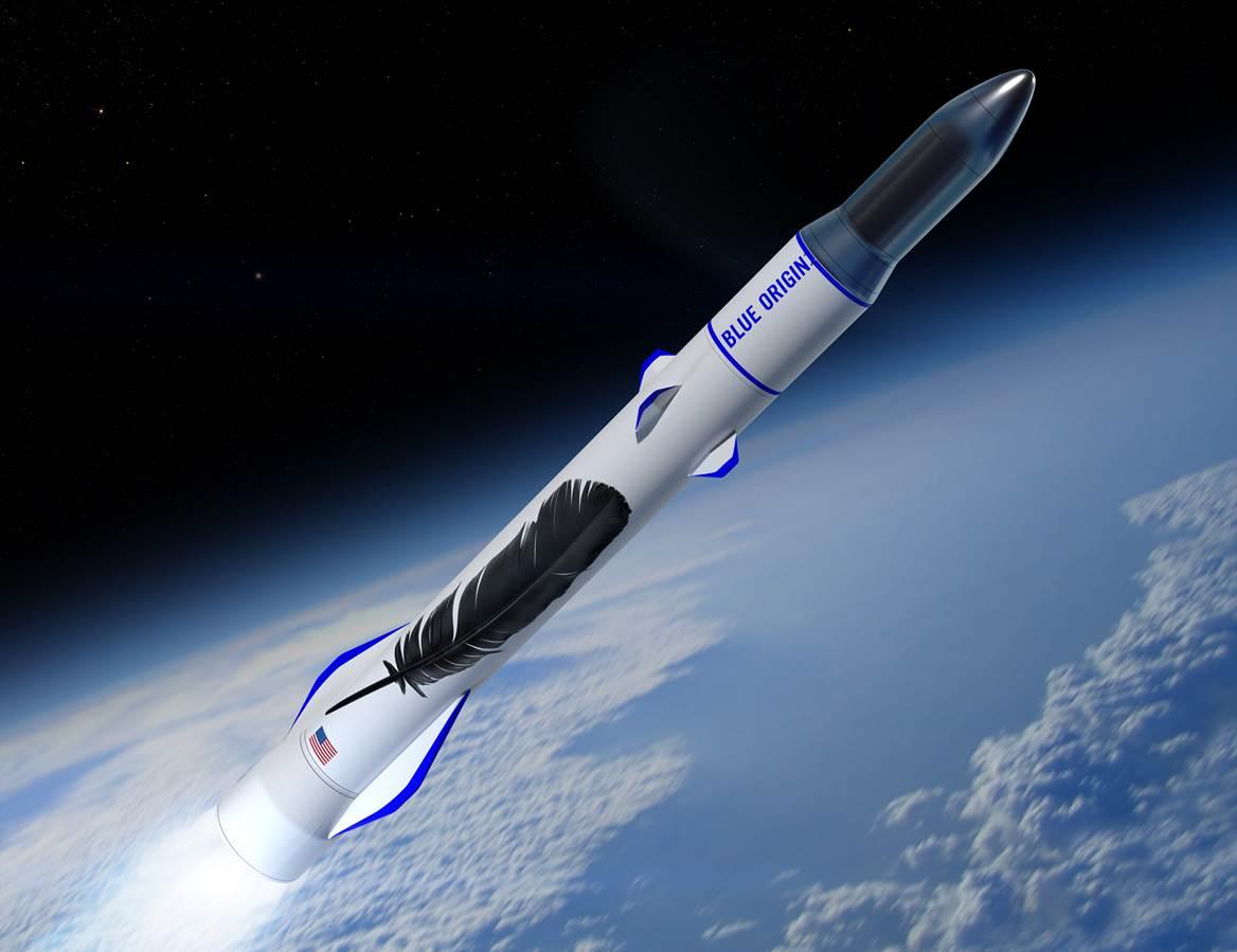 Enlarge / Blue Originu0027s concept art for a New Glenn rocket launch ascending  to orbit. - Blue Origin PNG