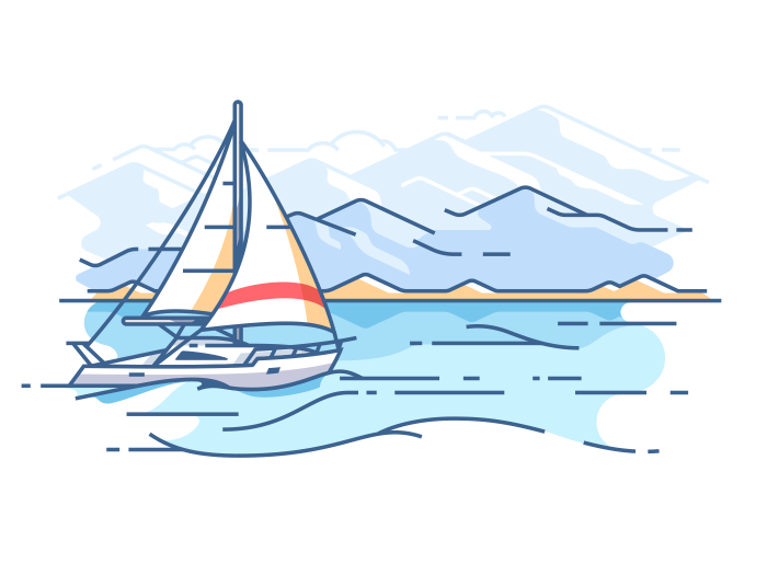 Boat trip on ocean. Vector illustration - Boat Trip PNG