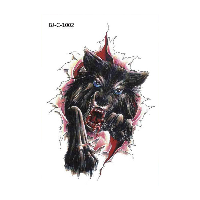 Body Art Temporary Removable Tattoo Stickers Colour Wolf BJC1002 Sticker  Tattoo - Body Art PNG