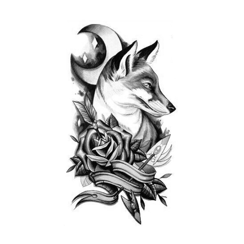 . PlusPng.com Body Art Temporary Removable Tattoo Stickers Wolf 3 Sticker Tattoo - Body Art PNG