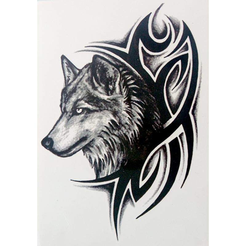. PlusPng.com Body Art Temporary Removable Tattoo Stickers Wolf LHX-36 Sticker Tattoo - Body Art PNG