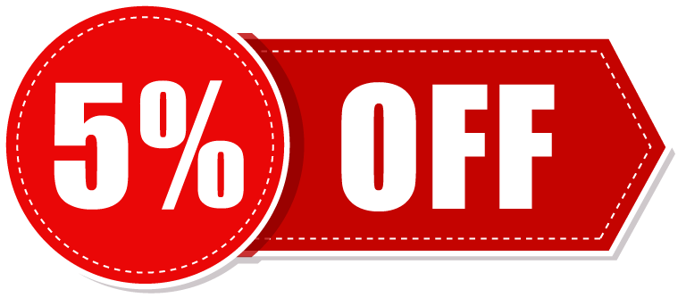 5 percent off - Book Now Button PNG