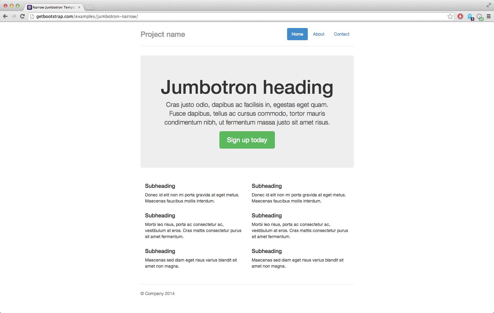 File:Bootstrap-3.1.1-screenshot-narrow-jumbotron-example. - Bootstrap PNG
