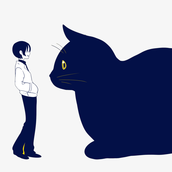 big black cat and boy, Black Cat, Huge, Boy Free PNG Image - Boy And Cat PNG