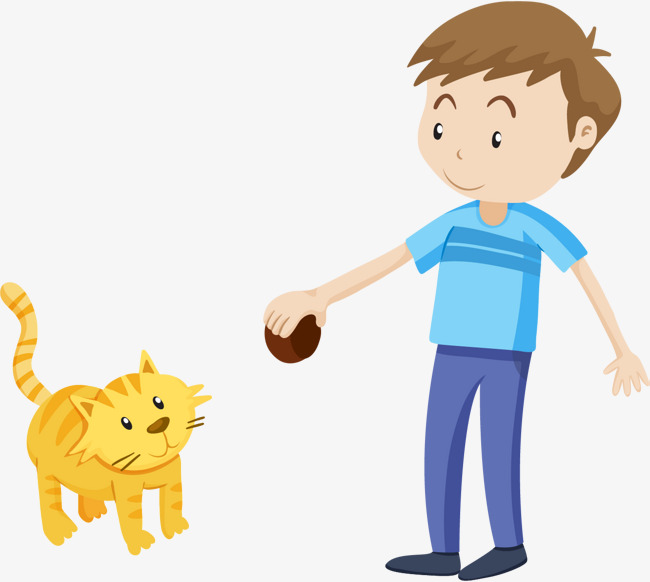 Boys and cats, Cartoon, Boy, Pet Cat PNG and Vector - Boy And Cat PNG