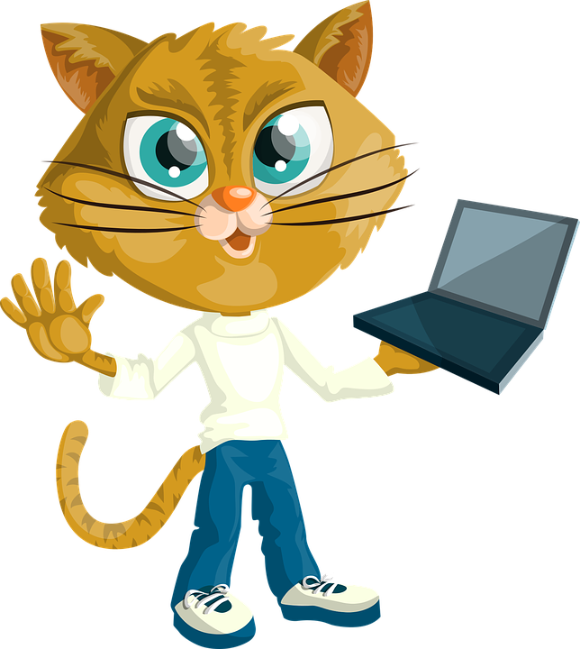 cat kitty boy holding laptop computer dressed - Boy And Cat PNG
