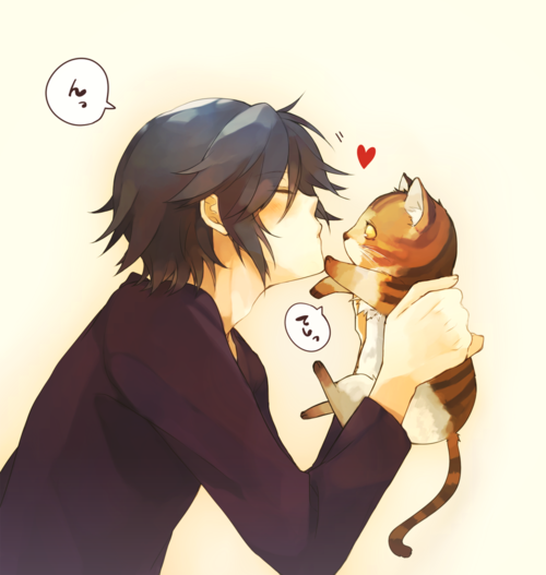 Kitty kiss illustration - Cat love - Boy And Cat PNG