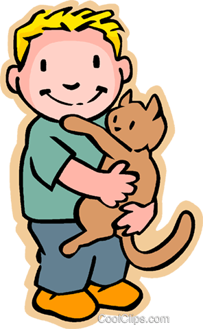 little boy with cat Royalty Free Vector Clip Art illustration - Boy And Cat PNG