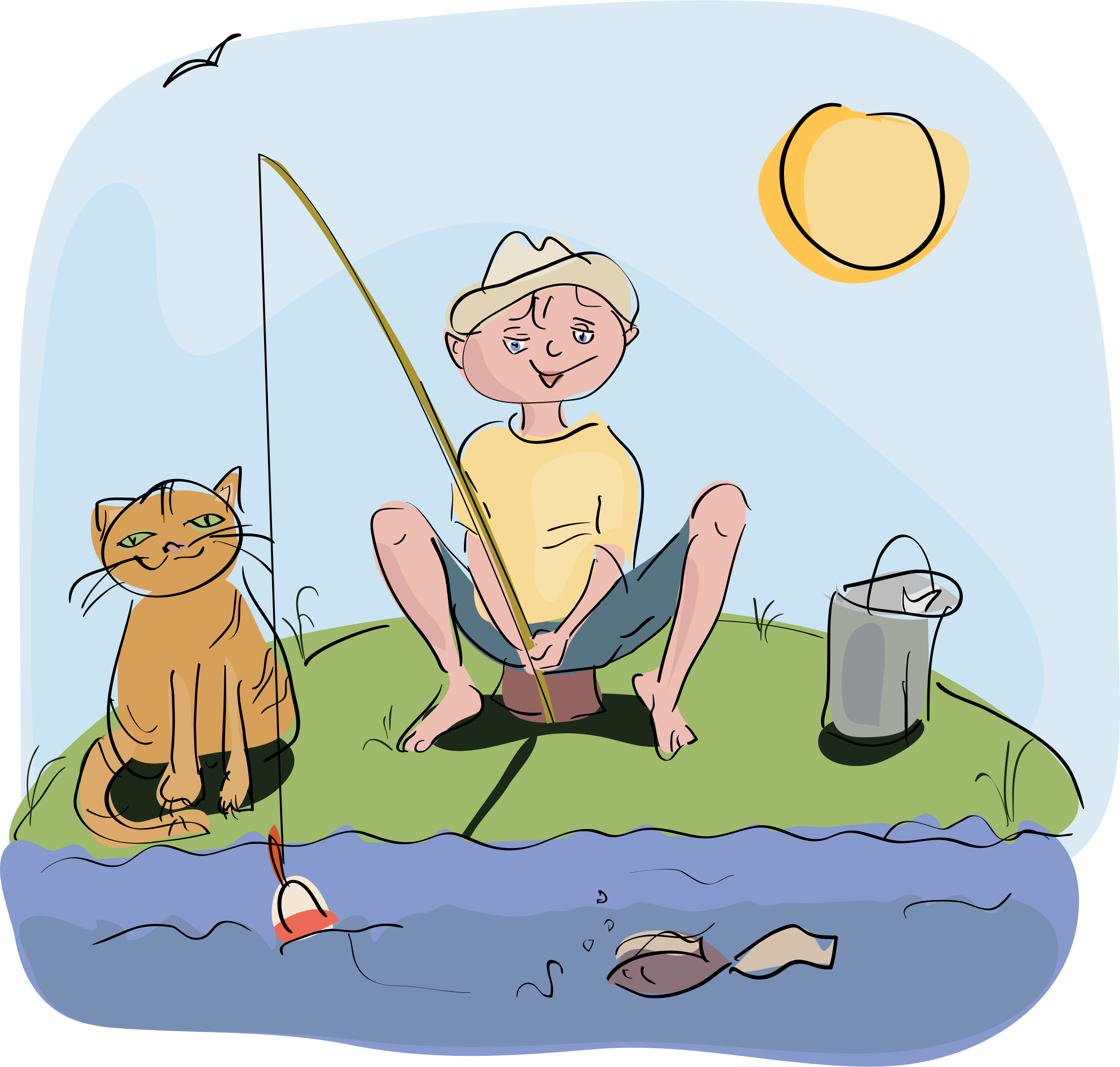 This free Icons Png design of boy and cat fishing PlusPng.com  - Boy And Cat PNG