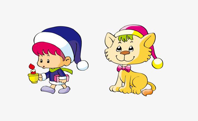 Vector cartoon cat, Cartoon Cat, Boy, Hat PNG and Vector - Boy And Cat PNG