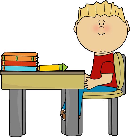 Boy At Desk PNG