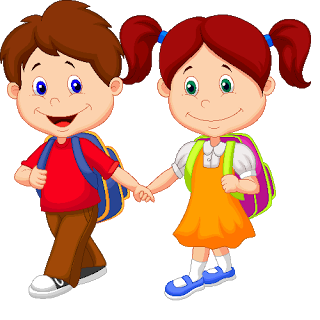 File:Cute boy and girl holding hands walking to school.png - Boy At School PNG