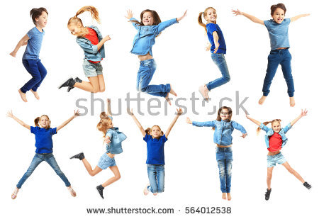 Cute jumping children on white background - Boy Jumping PNG HD