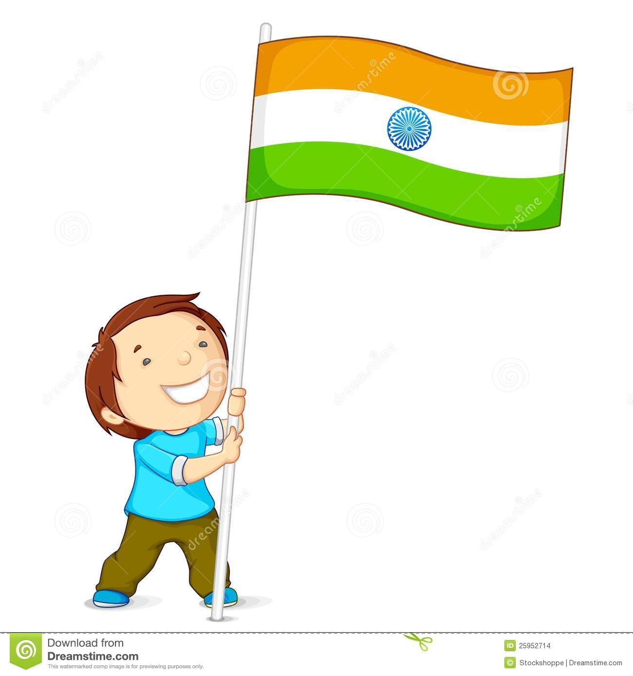 Boy With Indian Flag PNG - 158248