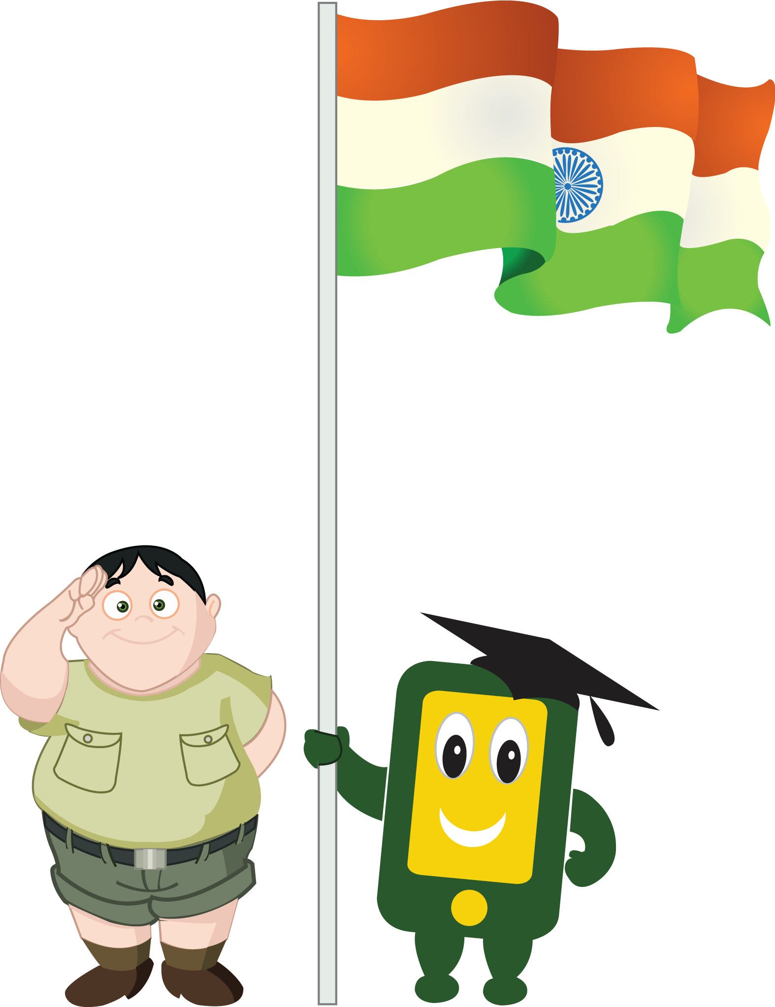 Boy With Indian Flag PNG - 158251