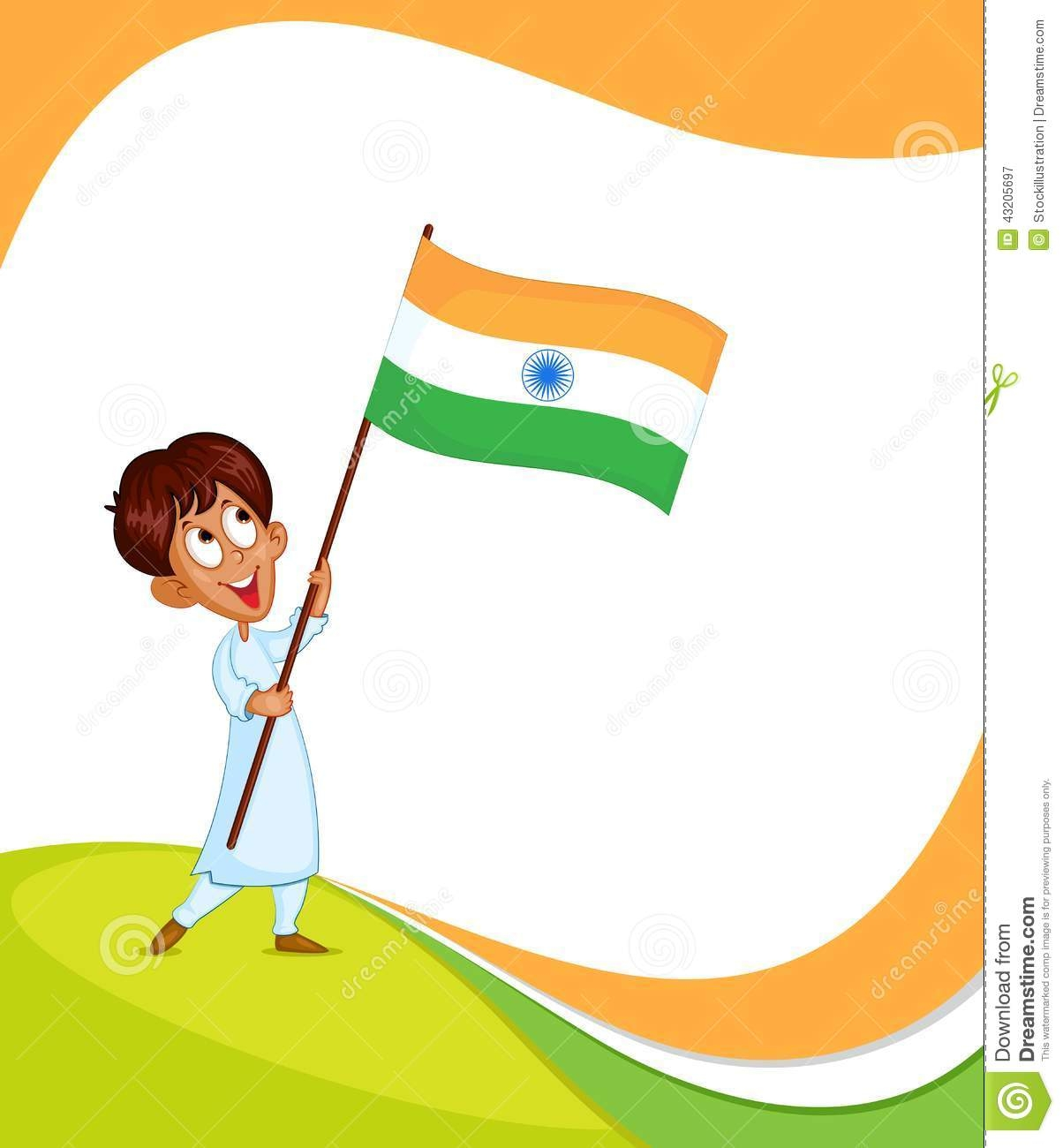 Boy With Indian Flag PNG - 158246