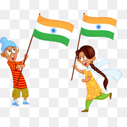 Boy With Indian Flag PNG - 158250