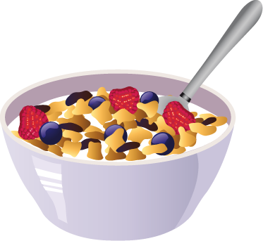 Cereal Bowl Vector Illustration Wall Sticker. Wall color - Breakfast Bowl PNG